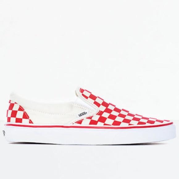 Vans Slip-On Red   White Checkered Skate Shoes. M 5be36c219539f709c309fa8a 90f3f566e